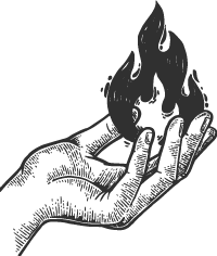 hand with flame