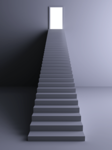 stairs to an open door